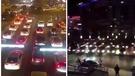 上百汽車堵路抗議。