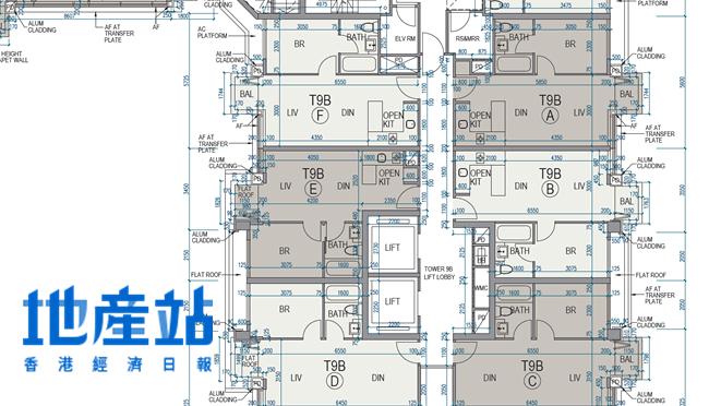 朗濤最細單位見於9B座2樓E室,實用面積357平方呎,採1房間隔,外連15平方呎平台。