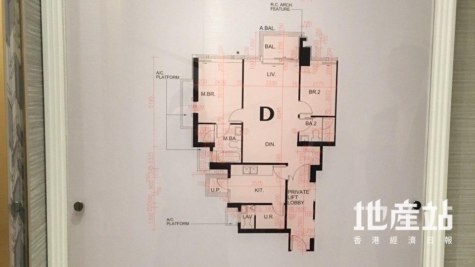 何文田傲玟6座16樓D室平面圖。