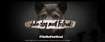 莫文蔚展示圖文,反對狗肉節。